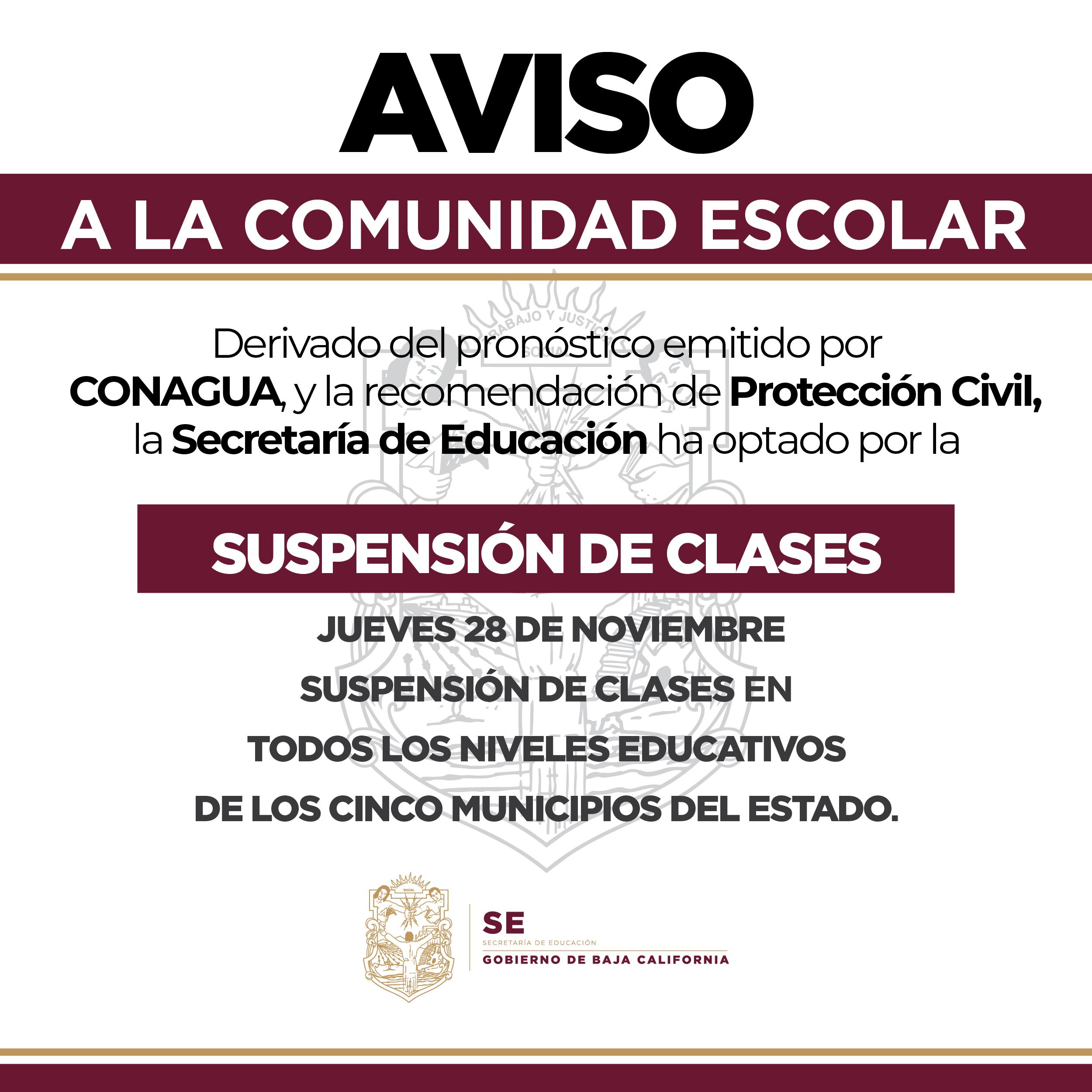 Se suspenden clases en todos los niveles educativos de los 5 municipios de BC este jueves 28 de noviembre