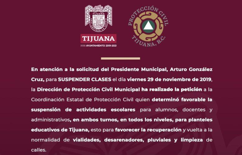 Se mantiene suspensión de clases mañana viernes en Tijuana