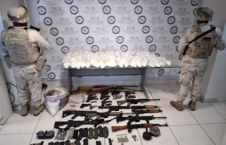 Aseguran armamento y 45 kilos de droga en Mexicali