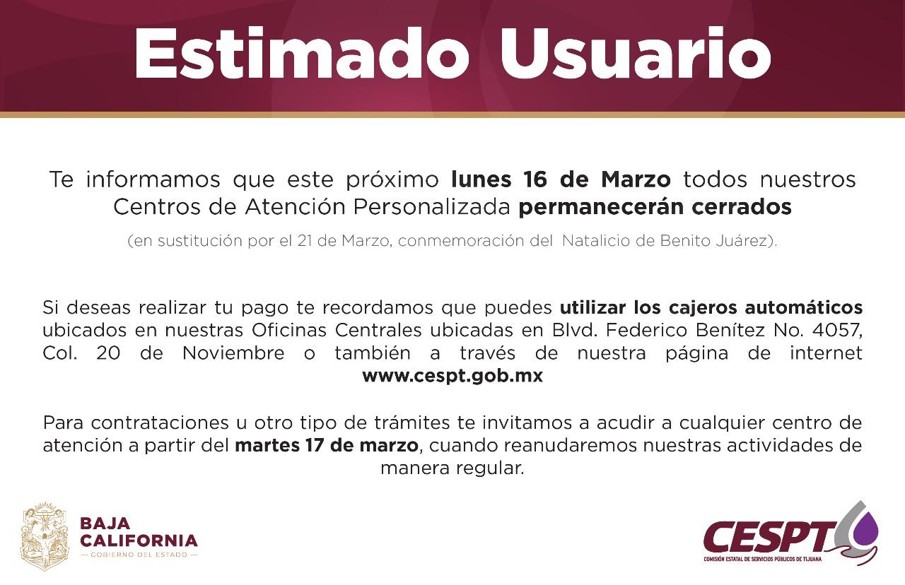 El próximo lunes 16 de marzo permanecerán cerrados Centros de Atención CESPT