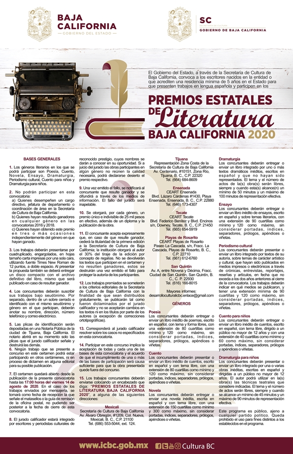 Inicia convocatoria de los Premios Estatales de Literatura 2020