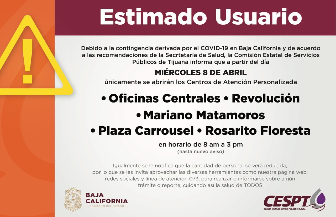 CESPT REDUCE DE FORMA TEMPORAL NÚMERO CENTROS DE ATENCIÓN PERSONALIZADA