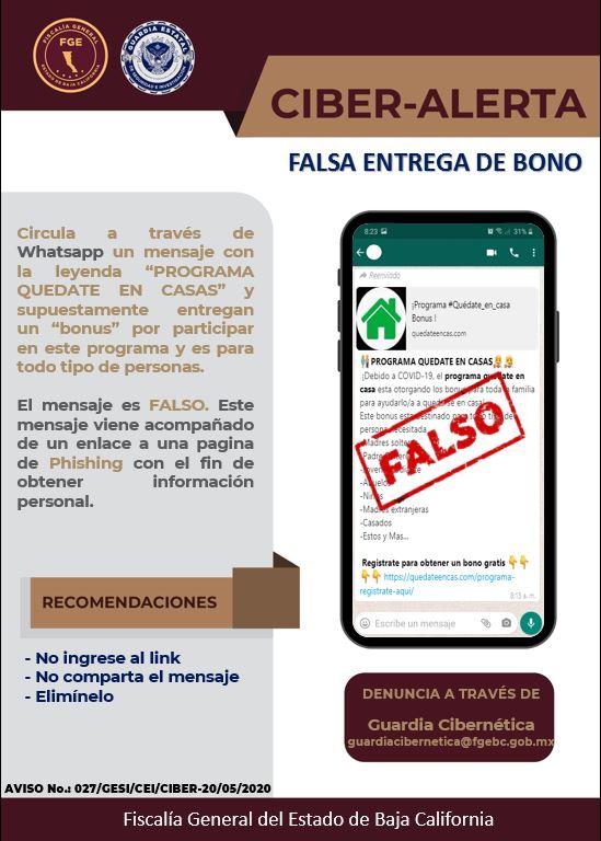 Detectan falso mensaje sobre programa ¨Quédate en Casa¨