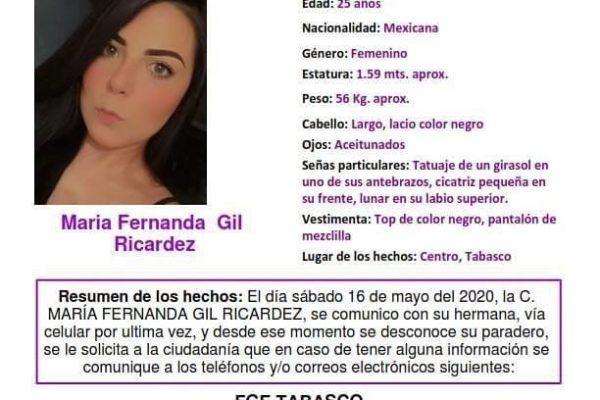 Activan Protocolo Alba de Tabasco para localizar a María Fernanda Gil