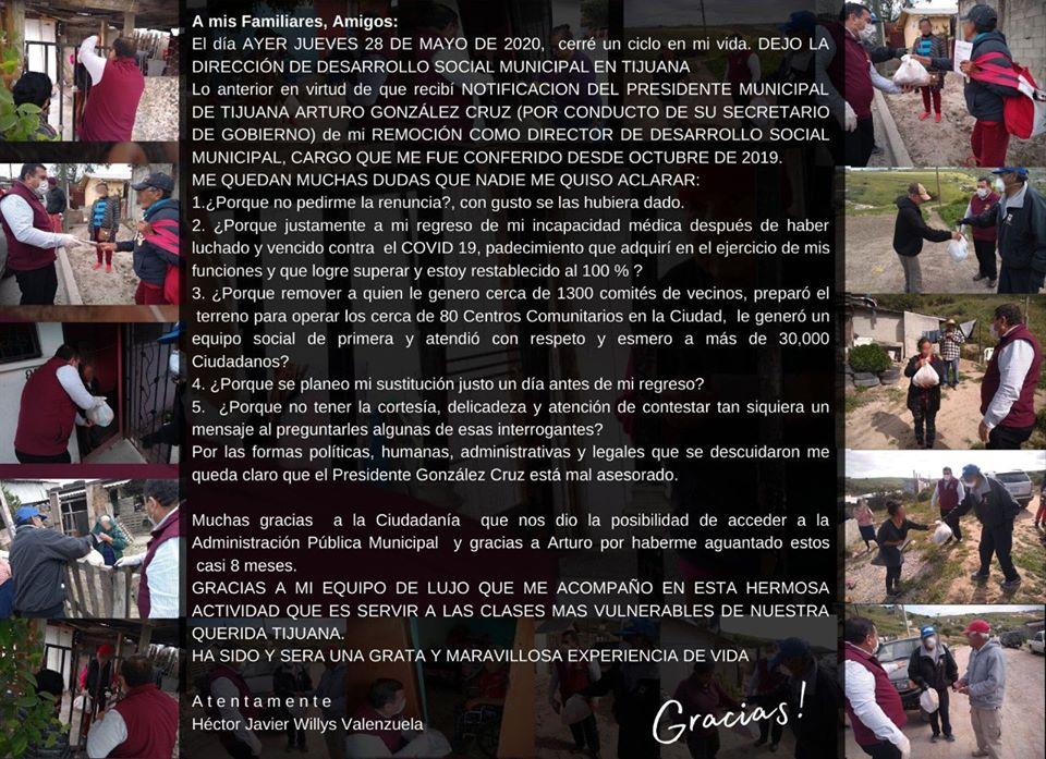 Destituyen a director de Desarrollo Social de Tijuana tras recuperarse de COVID 19