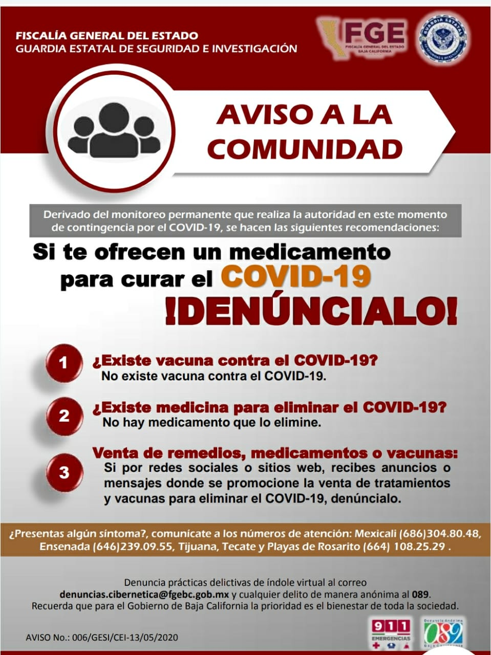 Alertan sobre falsa vacuna o medicamentos contra COVID-19