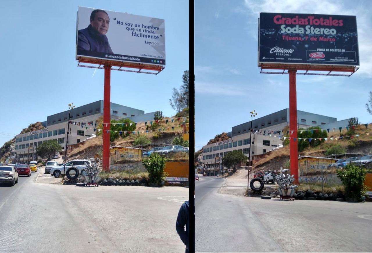 Amenaza Ayuntamiento con clausurar a empresa que subió carteleras en apoyo a Leyzaola