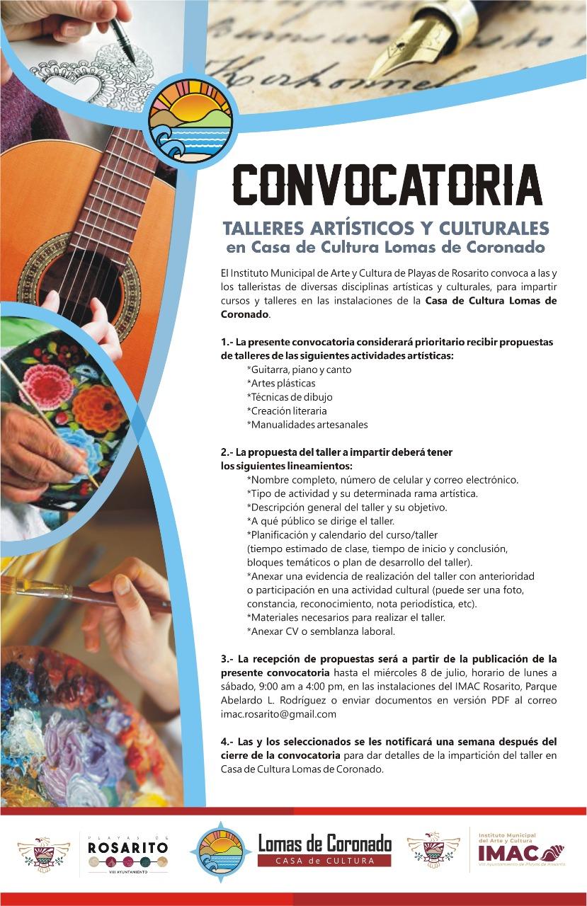 Invita IMAC Rosarito a convocatoria para talleristas en Casa de Cultura Lomas de Coronado