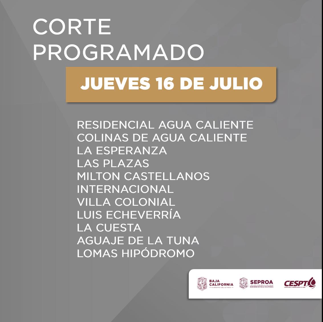 CESPT anuncia corte programado para 11 colonias en Tijuana