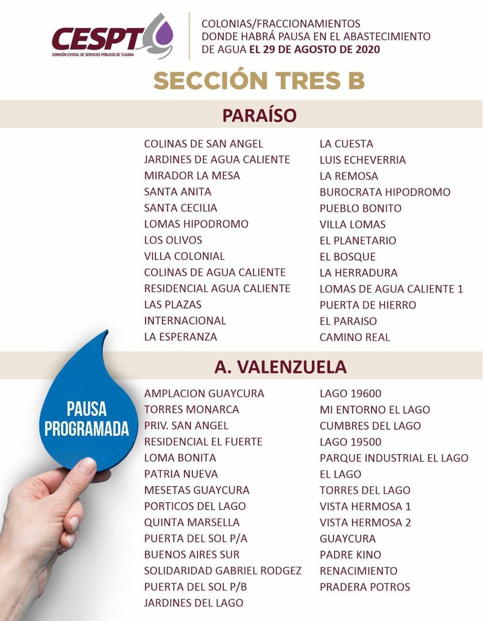 CESPT anuncia lista de colonias Sección 3B