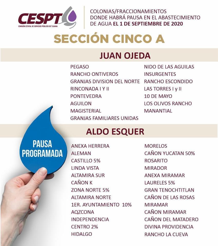 CESPT anuncia lista de colonias Sección 5A