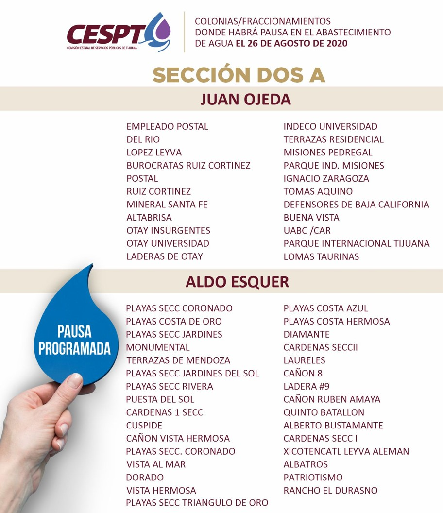 CESPT anuncia lista de colonias Sección 2A