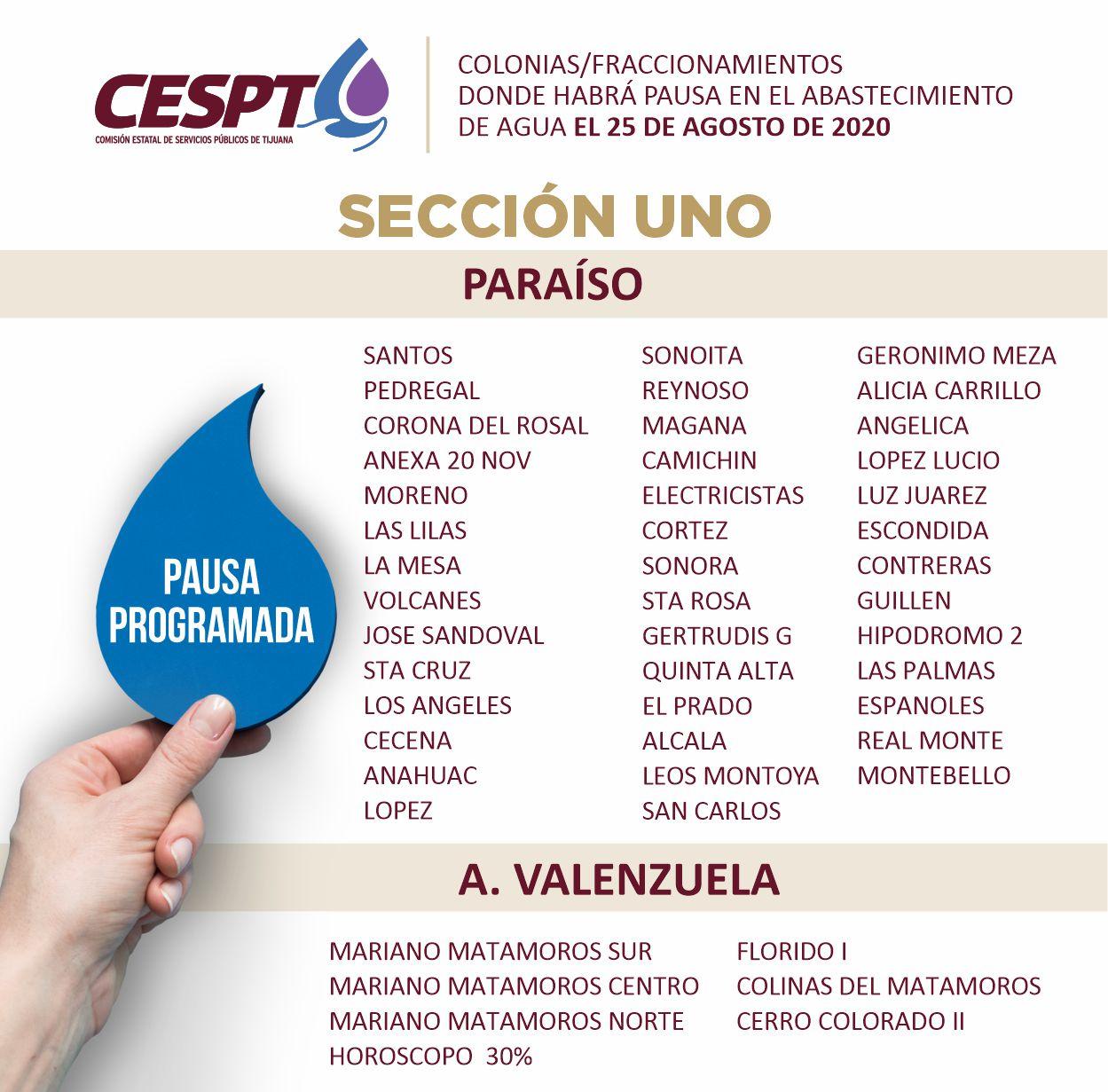 CESPT anuncia segunda lista de colonias Sección 1