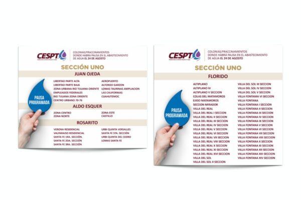 """Anuncia CESPT el plan """"Pausa Programada, para Redistribución y Recuperación del Agua Potable""""; inicia el lunes 24 de agosto"""