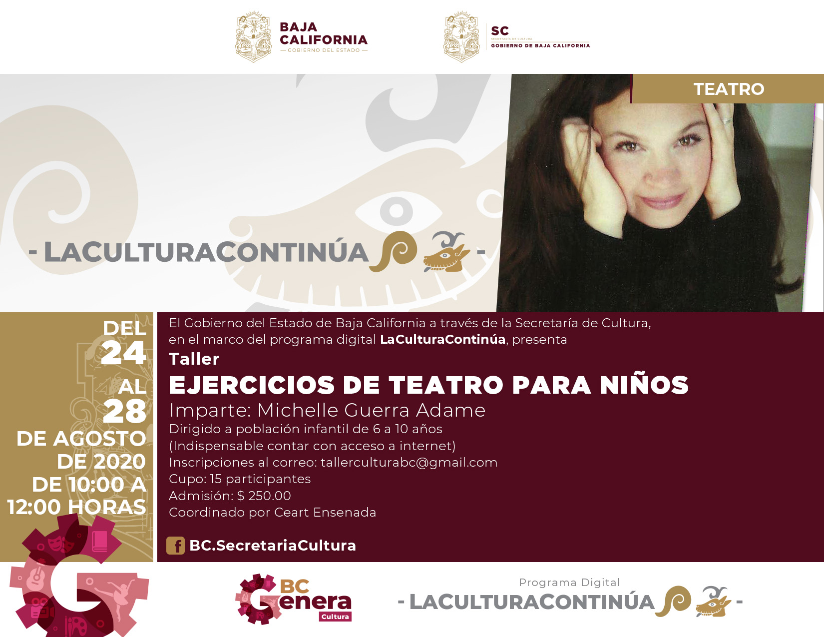 """Ofrecerán el taller virtual """"Ejercicios de teatro para niños"""""""