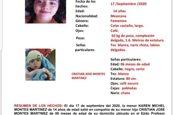 Activan Alerta Amber por desaparición de madre adolescente y su bebé