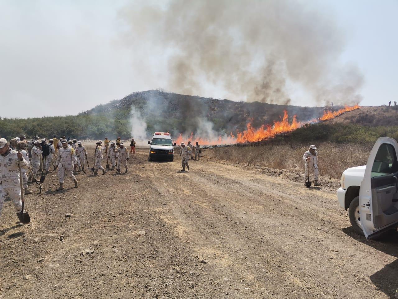Bomberos  de Rosarito contienen incendio forestal en un 70 por ciento
