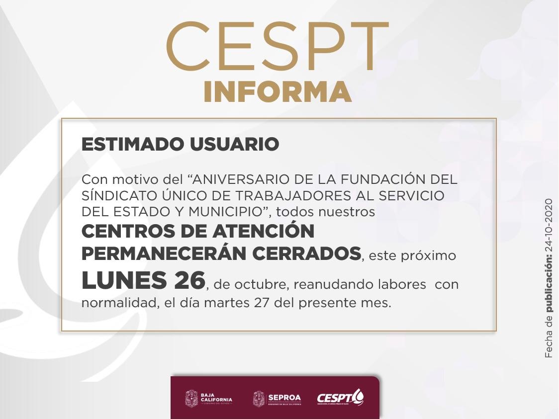 Próximo lunes 26 de octubre, CESPT mantendrá cerrados sus Centros de Atención