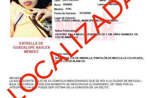 Localizan en Mexicali a menor buscada por Alerta Amber
