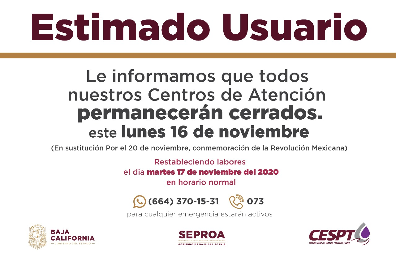 PRÓXIMO LUNES 16 DE NOVIEMBRE, LA CESPT MANTENDRÁ CERRADOS SUS CENTROS DE ATENCIÓN