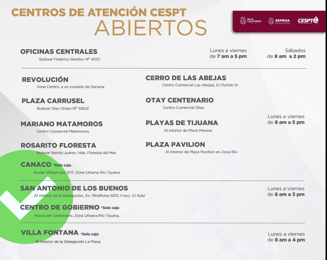 """La CESPT informa """"reapertura"""" de Centros de Atención en Zona Río y Villa Fontana"""