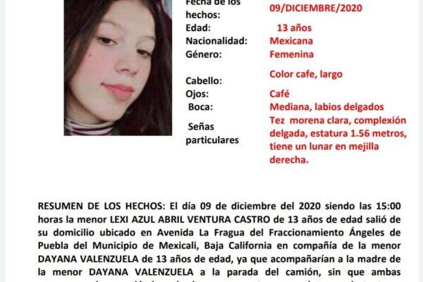 Activan Alerta Amber por desaparición de 2 jovencitas de 13 años