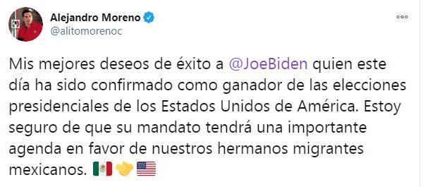 ALEJANDRO MORENO DESEÓ ÉXITO A JOE BIDEN, DESPUÉS DE QUE SE CONFIRMARA SU TRIUNFO ELECTORAL