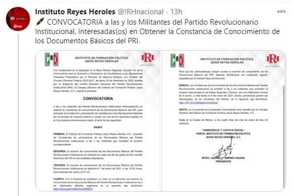 CONVOCA EL IRH A MILITANTES DEL PRI A REALIZAR EXAMEN PARA PODER CONTENDER POR CANDIDATURAS A DIPUTACIONES FEDERALES
