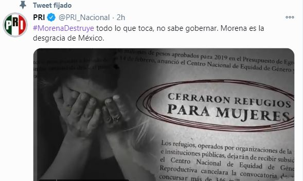 MORENA HA DESTRUIDO A MÉXICO: PRI