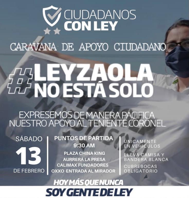 Invitan a participar en caravana de apoyo al Teniente Coronel Leyzaola