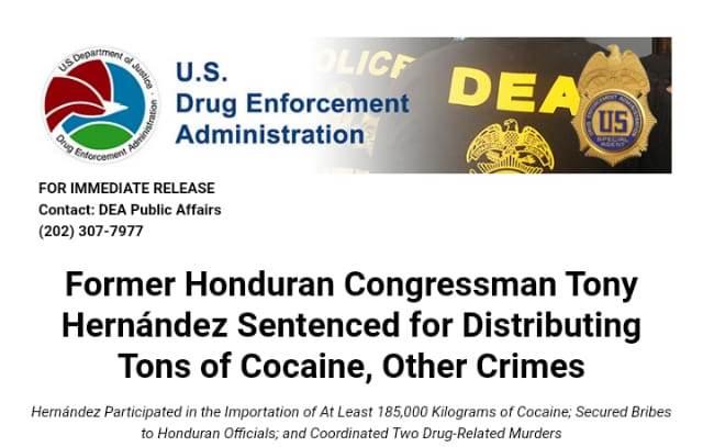 Sentencian a cadena perpetua en EU a hermano del Presidente de Honduras por tráfico de cocaína