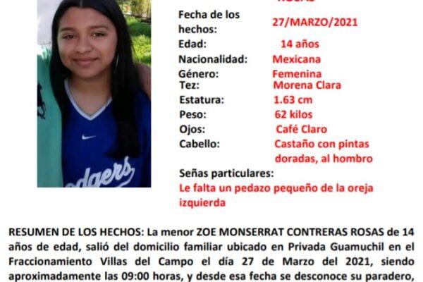 Activan Alerta Amber  por desaparición de la menor Zoe Monserrat de 14 años