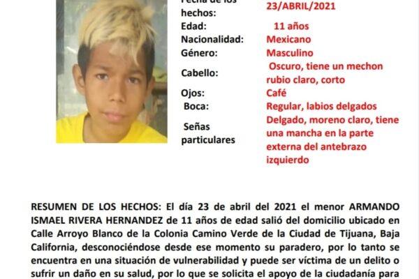 Activan Alerta Amber por desaparición de Armando Ismael Rivera Hernández de 11 años