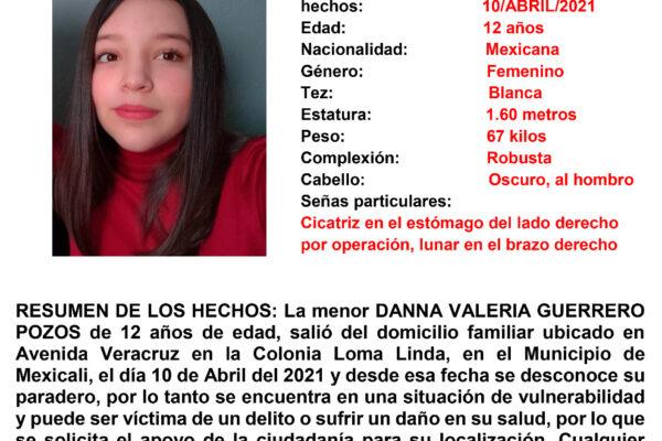 Activan Alerta Amber por desaparición de Danna Valeria Guerrero Pozos