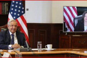 Presidente López Obrador conversa con vicepresidenta de Estados Unidos, Kamala Harris
