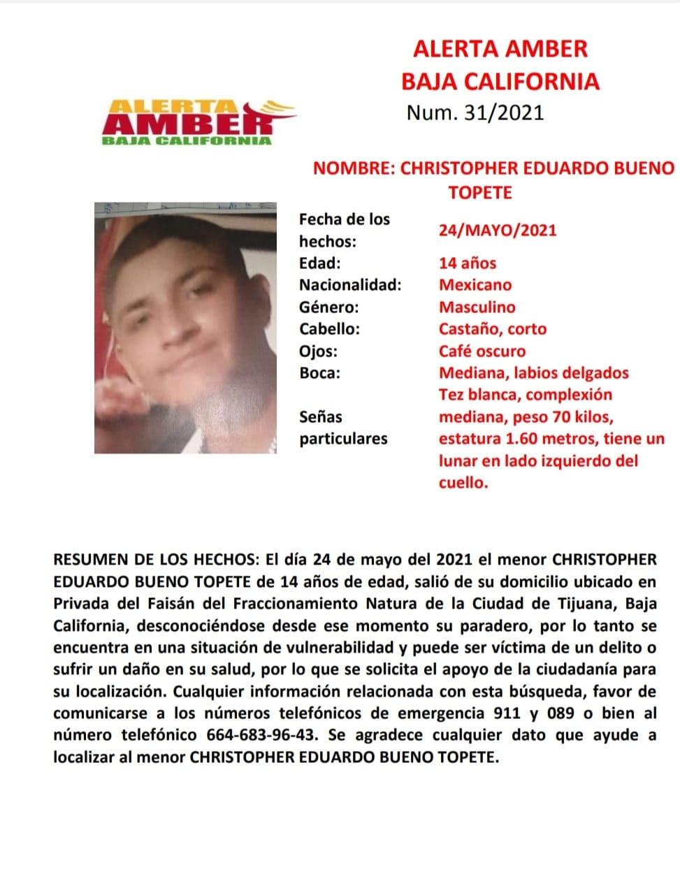 Activan Alerta Amber por desaparición de  Christopher Eduardo Bueno Topete de 14 años