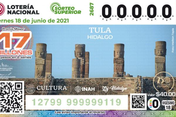 Atlantes de Tula engalanan billete de lotería