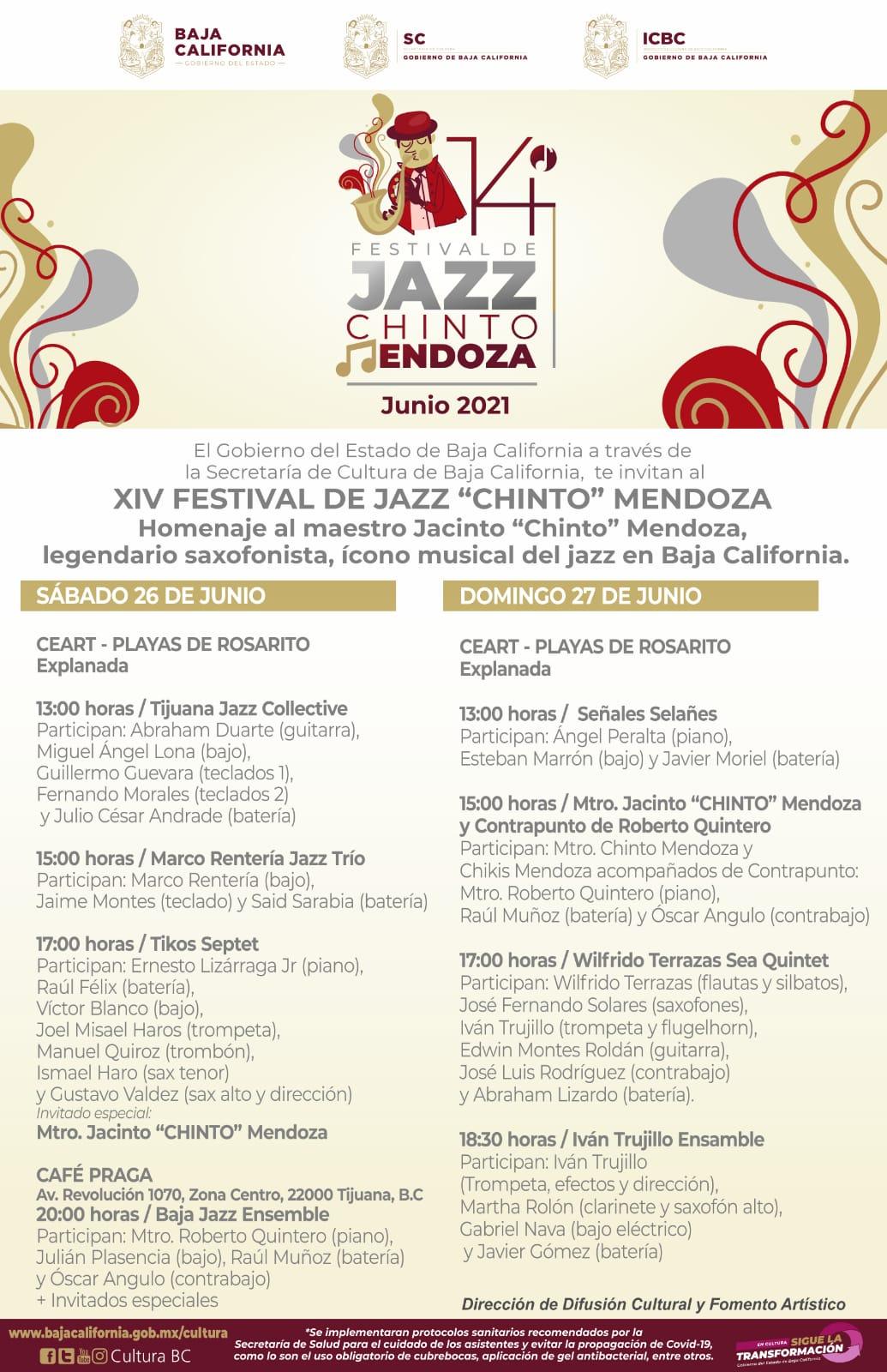Realizará la Secretaría de Cultura de BC el Festival de Jazz Chinto Mendoza en Playas de Rosarito