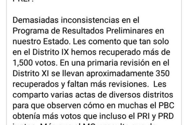 Denuncia Carlos Atilano irregularidades en el PREP