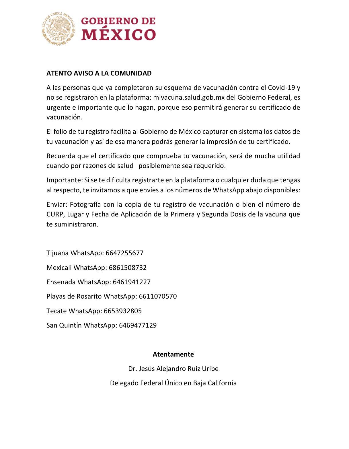 Hacen urgente llamado para obtener Certificado de Vacunación COVID-19