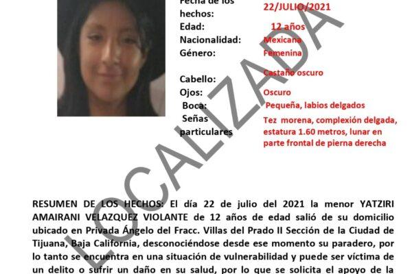 Localizan a Yatziri Amainari Velázquez Violante