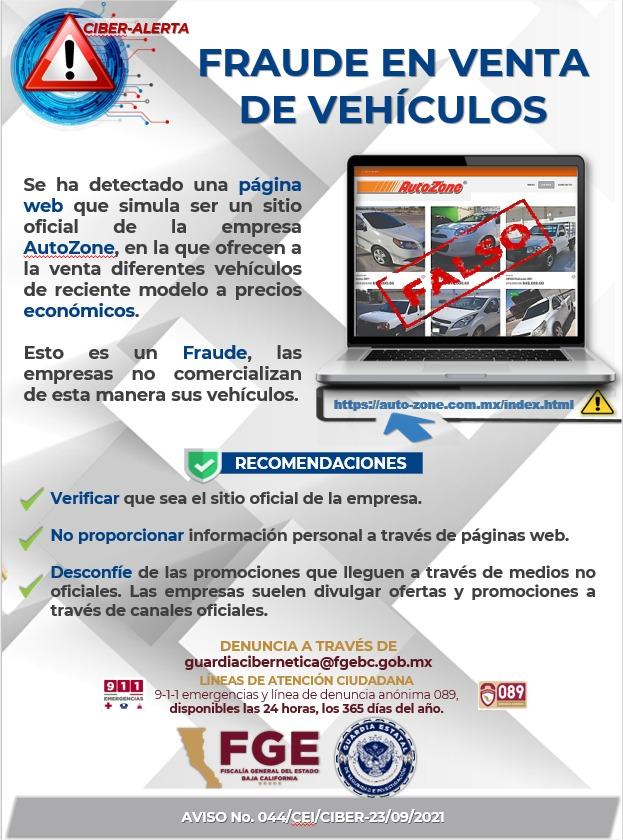 Alertan sobre sitio de Internet fraudulento de venta de vehículos