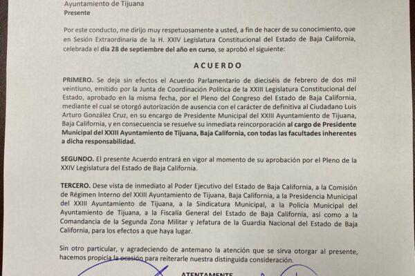 Congreso Estatal reinstaló a Arturo González Cruz como alcalde de Tijuana