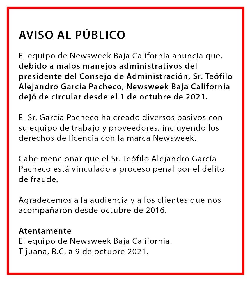 Socio de Newsweek Baja California vinculado a proceso por fraude causa cierre de revista