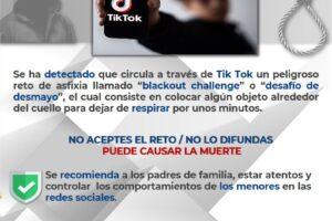 "Emiten alerta sobre peligroso reto ¨Blackout Challenge"" que circula en TIK -TOK"